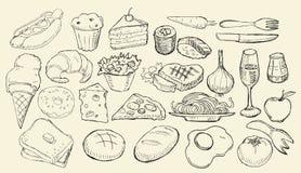 Gezogene Nahrungsmittelsammlung Lizenzfreies Stockfoto
