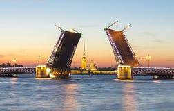 Gezogene Palast-Brücke und Peter und Paul Fortress nachts weiße, St Petersburg, Russland stockbild