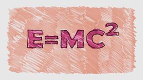 2 gezogene Schleifenhintergrund-Karikaturanimation der Relativitätsformelmarkierungs- und -bleistiftwörter nahtlose - neuer Quali vektor abbildung