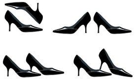 Gezogene schwarze Schuhe Stockbild