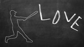 Gezogene Zahl des Baseball-Spielers eine Wort Liebe schlagend Stockbilder