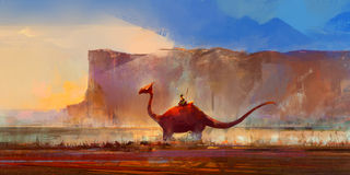 Gezogener Dinosaurier auf einem Hintergrund von Bergen Stock Abbildung