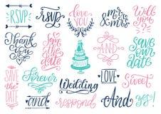 Gezogener Hochzeitssatz Lorbeer, Ringe, Blumen, Herzen usw. Handgeschriebene Phrasensammlung des Vektors sparen das Datum, RSVP vektor abbildung