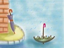 Gezogener Regenschirm im Regen Lizenzfreies Stockbild