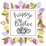 Gezogener Satz des Aquarells mit Elementen von fröhlichen Ostern Handgezogene Beschriftung, Kaninchen, Eier Ideal für Grußkarte o stockfoto