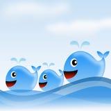 Gezogenes Anmeer des Wals drei auf einem Hintergrundhimmel, Raster illustratio Stockfoto