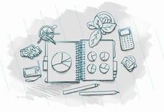 Gezogenes Bild der Arbeitstabelle mit Gegenständen Stockbilder