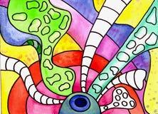 Gezogenes Farbenaquarell-Streifenmuster Lizenzfreies Stockbild