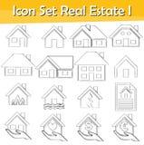 Gezogenes Gekritzel zeichnete Ikone gesetztes Real Estate I stock abbildung