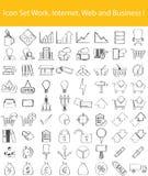Gezogenes Gekritzel zeichnete Ikonen-gesetzte Arbeit, Internet, Netz und Geschäft I stock abbildung