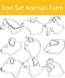 Gezogenes Gekritzel zeichnete Ikonen-gesetzte Farm der Tiere Lizenzfreie Stockfotos