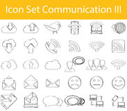 Gezogenes Gekritzel zeichnete Ikonen-gesetzte Kommunikation III lizenzfreie abbildung