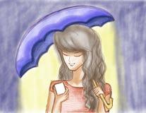 Gezogenes Mädchen mit Telefon und Regenschirm Stockfoto
