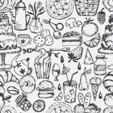 gezogenes nahtloses Muster für Küchenthema Vektor Stockbilder