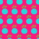 Gezogenes nahtloses Muster kokedama grüne rosa Hand des Blaus und des Türkises lizenzfreies stockbild