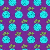 Gezogenes nahtloses Muster kokedama grüne violette Hand des Blaus und des Türkises lizenzfreie stockbilder