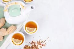 Gezond aftreksel met citroen en gember Middel tegen oxidatie, detox en verfrissende drank stock foto