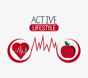 Gezond de levensstijlontwerp van de hartappel vector illustratie