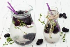 Gezond detoxwater met moerbeiboom Koude verfrissende bessendrank met ijs en thyme op witte houten lijst Het schone eten Stock Foto's