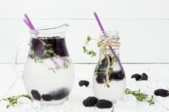 Gezond detoxwater met moerbeiboom Koude verfrissende bessendrank met ijs en thyme op witte houten lijst Het schone eten Royalty-vrije Stock Afbeelding
