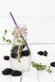 Gezond detoxwater met moerbeiboom Koude verfrissende bessendrank met ijs en thyme op witte houten lijst Het schone eten Stock Foto