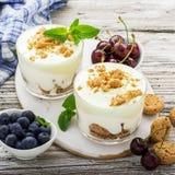 Gezond die de zomerdessert van de amandelkoekjes van de bessenyoghurt in glaskoppen worden verdeeld op een lichte houten achtergr stock fotografie