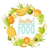 Gezond die Voedsel op witte achtergrond wordt geplaatst stock illustratie