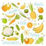 Gezond die Voedsel op witte achtergrond wordt geplaatst vector illustratie