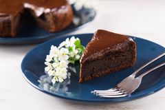 Gezond eigengemaakt dessert Stuk van de chocoladecake DE van de vogelkers Royalty-vrije Stock Afbeelding