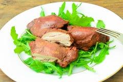 Gezond en Dieetvoedsel: Gekookte Kip in Ui Royalty-vrije Stock Foto