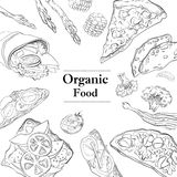 Gezond en Hartelijk van het Ontbijt Organisch restaurant malplaatje als achtergrond stock illustratie