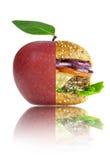 Gezond en ongezond de keuzenconcept van de voedselvoeding stock fotografie