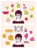 Gezond en Ongezond Voedsel Stock Afbeelding