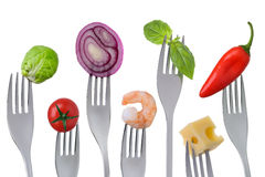 Gezond evenwichtig voedsel op wit Stock Afbeeldingen