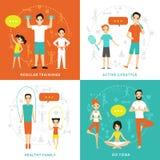 Gezond Familie Vlak Concept vector illustratie