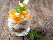 Gezond gelaagd dessert met yoghurt, banaan, mango, koekje op wo royalty-vrije stock foto's