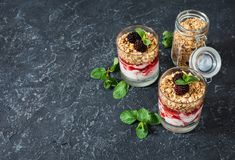Gezond gelaagd dessert met yoghurt, granola, jam, braambes in glas op steenachtergrond stock foto's