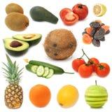 Gezond Geplaatst Voedsel - Vruchten en Groenten Royalty-vrije Stock Foto's