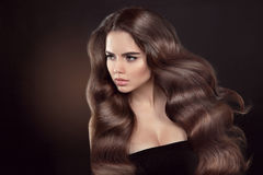Gezond haar Golvend kapsel Mooi donkerbruine vrouwen modelverstand royalty-vrije stock afbeelding