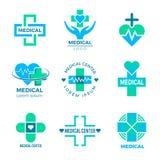 Gezond hart, gezond voedsel, goede slaap, yoga, kuuroordtherapie De medische tekens voor de gezondheidszorg van de embleemkliniek vector illustratie