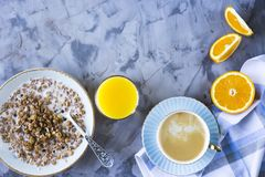 Gezond hartelijk ontbijt - exemplaarruimte royalty-vrije stock afbeeldingen