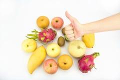 Gezond het eten concept, Hand met omhoog duim Royalty-vrije Stock Afbeeldingen