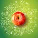 Gezond levensstijlconcept met appel en krabbels royalty-vrije illustratie