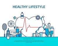 Gezond levensstijlconcept met voedsel en sportpictogrammen Natuurlijke het levens vectorachtergrond met hartvorm Fysische activit vector illustratie