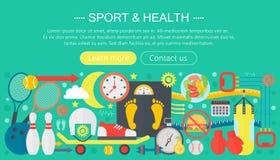 Gezond levensstijlconcept met voedsel en sportpictogrammen Sport en fitness het vlakke ontwerp van de het malplaatjekopbal van co vector illustratie