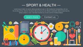 Gezond levensstijlconcept met voedsel en sportpictogrammen Sport en fitness het vlakke ontwerp van het de kopbalmalplaatje van co royalty-vrije illustratie