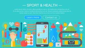 Gezond levensstijlconcept met voedsel en sportpictogrammen Sport en fitness het vlakke ontwerp van het de kopbalmalplaatje van co stock illustratie