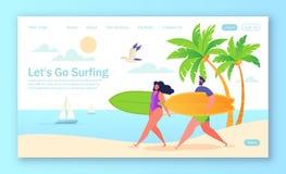 Gezond levensstijlconcept voor mobiele website of webpagina met vlakke gelukkige surfers vector illustratie