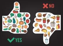 Gezond levensstijlconcept Wij zijn wat wij eten Vector Stock Foto's