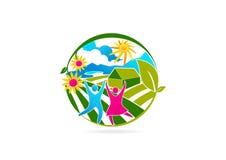 Gezond, mensen, embleem, bloem, landbouwbedrijf, symbool, geschiktheid, gezondheid, pictogram en therapieconceptontwerp Stock Foto